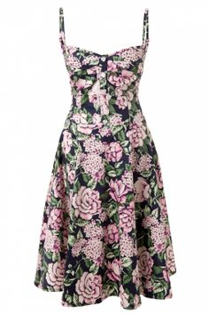 Collectif Clothing - Fairy Summer Bouquet Print Doll Dress Navy