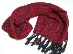 Red green cashmere merino shawl handwoven  by HandweavingbyMima