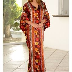 """[HP] LUXURIOUS & FIGURE- FLATTERING CAFTAN Caftans are now more POPULAR THAN EVER. Adjusts to different shapes and sizes. Figure flattering. Luxurious fabric that's roomy and breathable. Perfect for: Dinner. Cozy evening at home. Night on the town. Beach. Parties or Shopping. OSFM. LENGTH: 52"""" 100% Polyester. Wear all day all year around.  Bundle 2 for $85 HP (2) Intimates & Sleepwear Robes"""