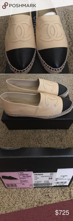 dc8cfeee831 Chanel Espadrilles Authentic tan and black leather Chanel espadrilles