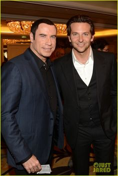 Bradley Cooper and John Travolta buddy up at the Hollywood Foreign Press Associations Installation Luncheon held at the Beverly Hills Hotel on Thursday (August in Beverly Hills, Calif. Beverly Hills Hotel, Beverly Hilton, The Beverly, Man Crush Monday, John Travolta, Bradley Cooper, Celebs, Celebrities, Attractive Men