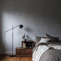 @local_milk | grey & linen bedroom with school house electric studio lamp