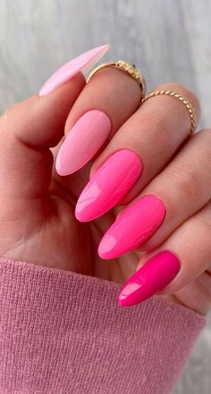Almond Acrylic Nails, Summer Acrylic Nails, Best Acrylic Nails, Nails Summer Colors, Best Summer Nail Color, Pink Nail Colors, Nail Colour, Basic Nails, Simple Nails