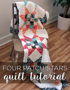 four patch stars by Jenny Doan from the Missouri Star Quilt Company