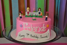 Such a cute cake at a Lego Friends Birthday Party!  See more party ideas at CatchMyParty.com!  #partyideas #lego