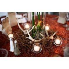 Camo Deer Antler Candle Centerpiece Camo Wedding Centerpiece