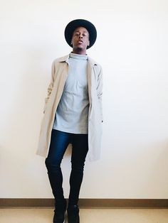 Ty'Sheem Johnson - Forever 21 Grey Turtle Neck, H&M Faux Leather Leggings, Thrifted Trench Coat - Sorry For The Wait