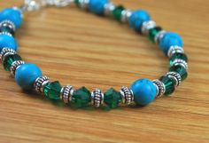Emerald Nights Sterling Silver Turquoise Crystal by beadingshop,