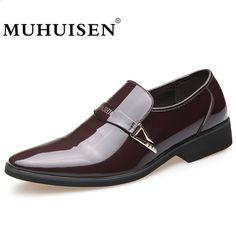 c58260e140 MUHUISEN Pánské obchodní šaty kožené boty Italská šňůra na módě Moccasin  Glitter Formální pánská Oxfords boty