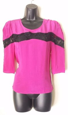 NEW LINE AND DOT CLOTHING PINK BLACK BLOUSE WOMENS CLOTHING 100% SILK TOP SMALL #LineDot #Blouse #Casual