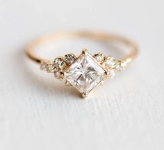Stargaze Ring 3/4 Carat in 14k Gold // 5mm Princess Cut White