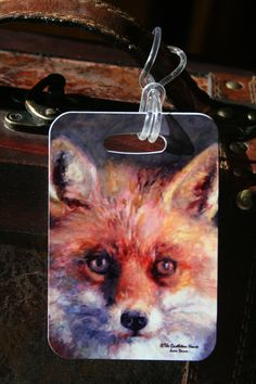 Castleton House Classic Reynard the Fox Luggage Tag. Each one of these unique and exclusive luggage tags are a great way to differentiate your luggage or briefcase from everyone!    Show your love of Fox Hunting Lifestyle. Each luggage tag is made exclusively for The Castleton House and Gallery Ltd. and are produced in the USA.