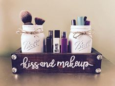 This piece is perfect for any dresser or bathroom counter! It has a mini shelf in the middle that can fit 9 regular size lipsticks, and two pint size jars to hold brushes, eyeliners, mascara or anything else you may need! This picture has 2 crisp white pint jars and and espresso