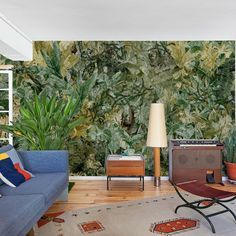 A dense tangle of tropical leaves creates the impression of an abstract canvas of autumnal yellows, browns and greens. Designed by Lara Costafreda. Wall Candy, Yellow And Brown, Tropical Leaves, Wall Wallpaper, Abstract Canvas, Tangled, Create, Artwork, Plants