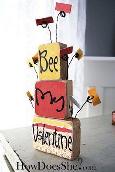 Bee My Valentine Blocks   AllFreeHolidayCrafts.com