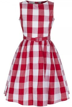 LindyBop dětské šaty Mini Audrey, červená kostka