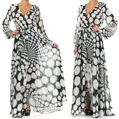 Full Sweep Chiffon Maxi Dress Wrap Sheer Blouse Slv Gown Cruise Long Skirt Vtg   eBay