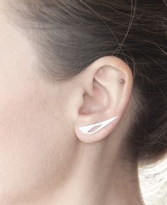 Geometric Ear Climber - Ear Cuff - Sterling Silver Minimalist  Cut out pins for the ear -