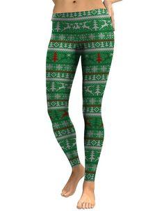 Christmas Elements Print Green Leggings