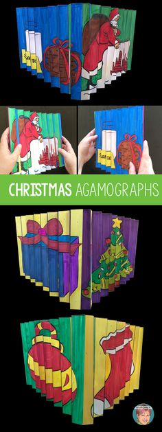 A unique and fun Christmas activity for teachers and students. Christmas Agamographs. #christmasactivity #christmasagamograph #agamograph