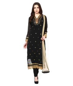Enhance your ethnic charm by wearing suit set by Aarohi Garment. Crafted from georgette, it will keep you comfortable throughout the party. Its unique design and beautiful colour will fetch a lot of second glances as you club it with contrast coloured pumps and flashy accessory.