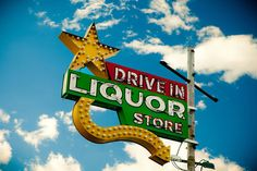 Route 66 Drive In Liquor Store  Vintage Neon by RetroRoadsidePhoto