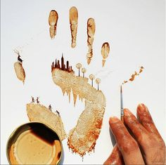 Camaeir City of Celebration made of coffee stains! By Ghidaq al-Nizar. #StiltMedia by stilt_media