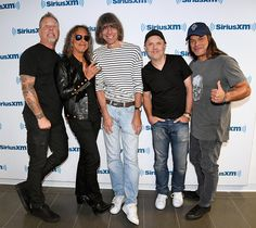 Metallica pictured with David Fricke at SiriusXM Studios in New York, NY, USA - September 26, 2016 ©  Kevin Mazur