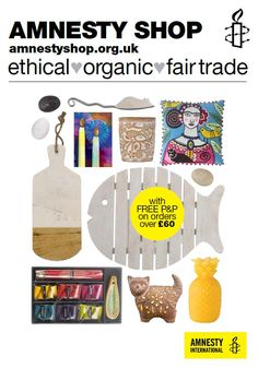 The new Amnesty Shop catalogue is out now - order yours at http://amnestyshop.org.uk/ Full of ethical, fairtrade, organic and recycled gifts