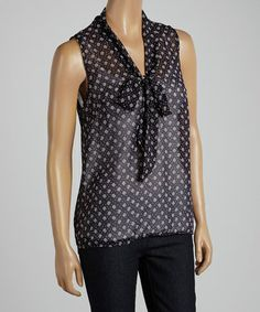 Look what I found on #zulily! Navy & White Polka Dot Bow Sleeveless Top #zulilyfinds