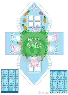 Printable gift easter house with banny, eggs and carrots.