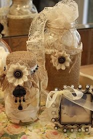 I love this! some jars, lace, and burlap!!! gorgeous