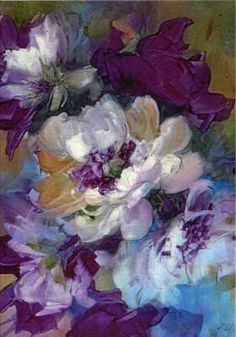 White poppies on porcelain tile by porcelain and watercolor artist, Gerry Burchill