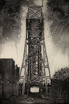 """Duluth""    - Fine art etching  - Landscape - Larry Welo - weloetchings.com"