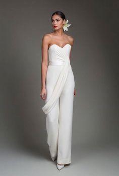 Jump into this jumpsuit Wedding Robe, Wedding Pantsuit, Wedding Dress Cake, Wedding Gowns, Wedding Dresses Plus Size, Wedding Dress Styles, Bridal Dresses, Dresses Uk, Stunning Dresses
