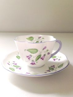 Antique Shelley English Fine Bone China Campanula Pattern Dainty Shape Teacup and Saucer Tea