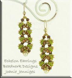 """Beadwork Design by Joanie Jenniges ~ """"Echelon"""" Earrings (with matching bracelet) Pattern"""
