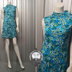 Vintage 60s Floral Print Hippy Mini Dress Minidress Flower Power Mod Dress Shift Dress High Neck Sleeveless 1960s Mini Dress Blue Floral