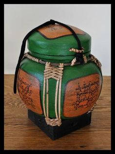 This lovely, delicately hand painted rice container makes a great addition to your home decor . Not safe for food Handmade in Thailand 7 x IN Thai Rice, Asian Rice, Rice Box, Gourd Art, Gourds, Asian Art, Textures Patterns, Oriental, Wicker