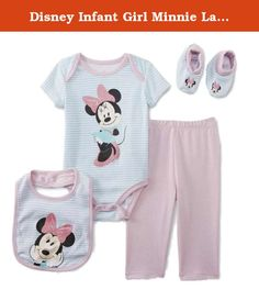 "Disney Infant Girl Minnie Layette Creeper Leggings Bib Booties 4 PC Set 6-9m. This adorable 4 piece layette set includes a white with green stripe short sleeved creeper featuring ""Minnie Mouse"" pictured on the front, solid pink leggings, and matching bib and booties. You will want to dress her in this often! Infant girls sizes 4-Piece set Short sleeved bottom snap creeper Elastic waist leggings Matching bib & booties 60% Cotton, 40% Polyester ."