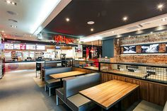 KFC Mongolia Namyanju // Interior design for the 1st international first fast food restaurant chain in Mongolia, for KFC // QSR Dining Area // Signage // Kitchen Zone // Cooker Hood Pendant Light // www.obllique.com