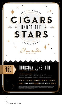 Cigars Under the Stars poster design | ashleynicole.ca