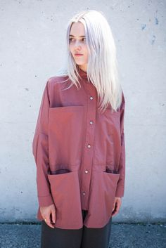 Luisa et la Luna Delphine Shirt in Rust Silk | Oroboro Store