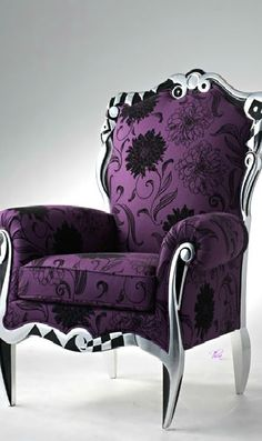 Purple and Silver Chair - So glam! Ultra Violet purple is 2018 Color of the Year Purple Furniture, Funky Furniture, Furniture Depot, Furniture Outlet, Purple Chair, All Things Purple, Purple Stuff, Purple Reign, Home And Deco