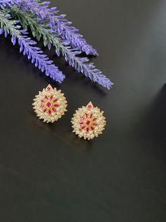 Clustered Pearl Ruby stud Earrings / Statement earrings / Earrings/Bollywood celebrity earring/ gold finished earrings