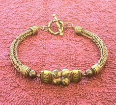 Mens Copper Viking Knit Bracelet - Mixed Meta