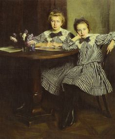 Artists Daughters by Aleksander Augustynowicz - Lviv National Art Gallery. Pictures To Paint, Print Pictures, William Adolphe Bouguereau, Sisters Art, National Art, Old Paintings, Art And Architecture, Vintage Children, Art Gallery