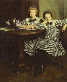 Artists Daughters (1907) by Aleksander Augustynowicz (Polish,1865 - 1944), Lviv…