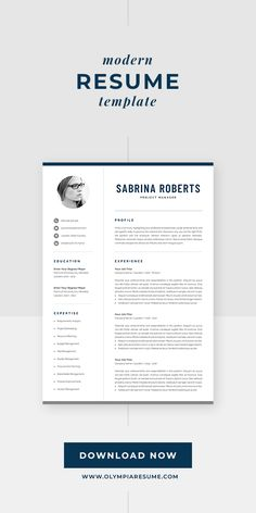 Modern resume template for building a stand-out job application. Includes one-page and two-page resume templates, cover letter and references in matching designs. Instant download. Available for Microsoft Word. #olympiaresume #resume #resumetemplate #cv #cvtemplate Creative Cv Template, One Page Resume Template, Modern Resume Template, Cover Letter For Resume, Cover Letter Template, Resume References, Microsoft Word 2007, Resume Design, Professional Resume