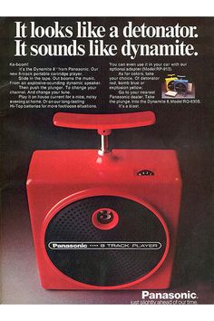 Panasonic Dynamite 8, portable 8-Track Player, RQ-830S, 1974. Mono, no ear jack, no tone control. No automatically track changer, you have to hit the plunger. Source